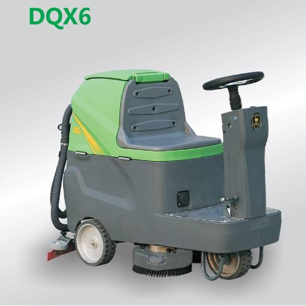 Electric floor washing machine with seat