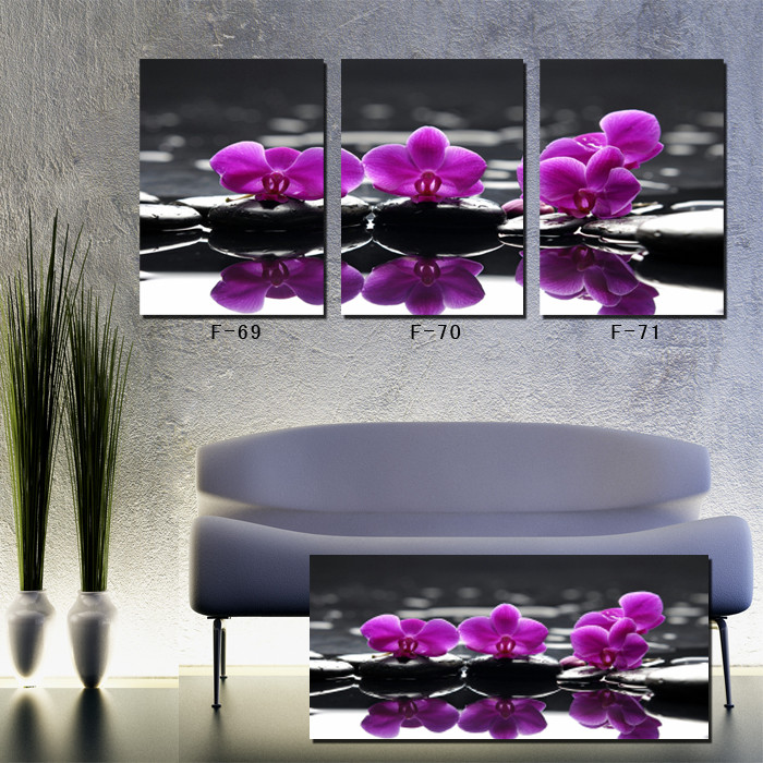 Modern Wall Art Home Decoration 3 Panel Canvas Prints Purple Flower
