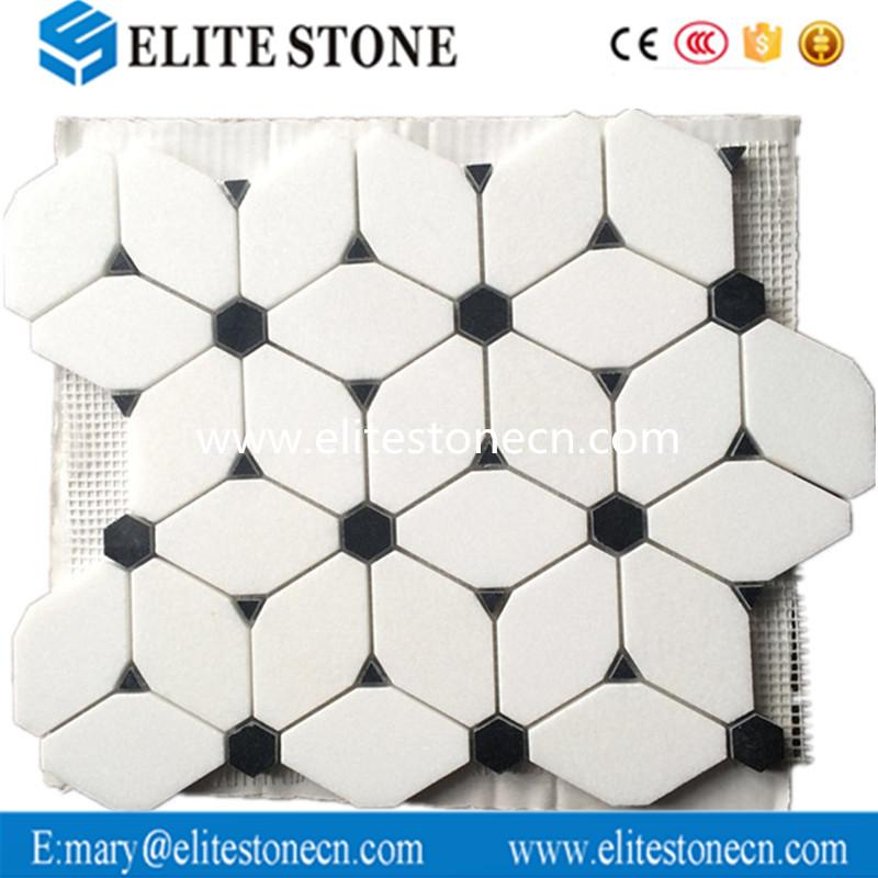 white cnc marble mosaic flower marble mosaic tile