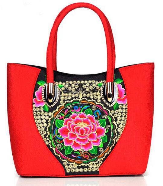 Factory hot sale China national canvas embroidery women handbag shoulder bag made in China