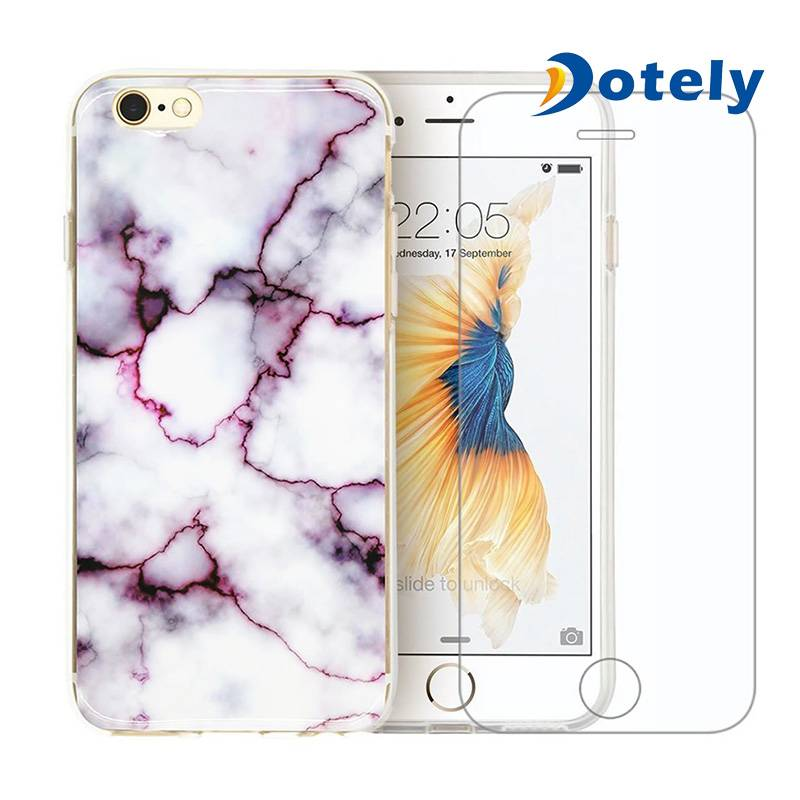 Marble Design Stone Soft Gel Rubber TPU Cover Case + Tempered Glass