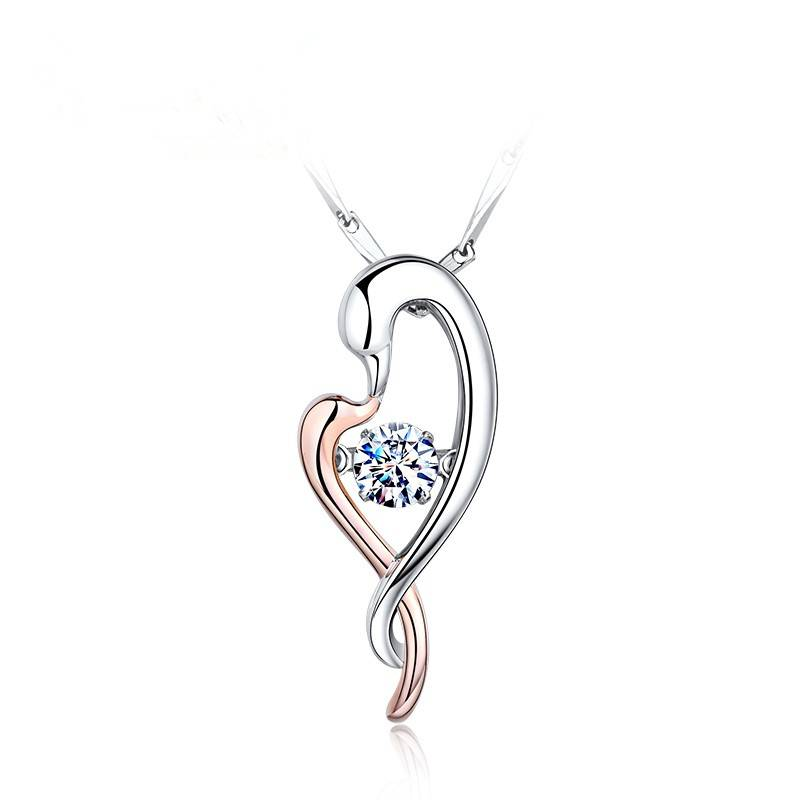 Swan kiss Silver necklace women accessories