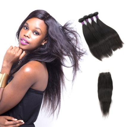 [9A]4 Bundles Brazilian Straight Hair Weave With Lace Closure