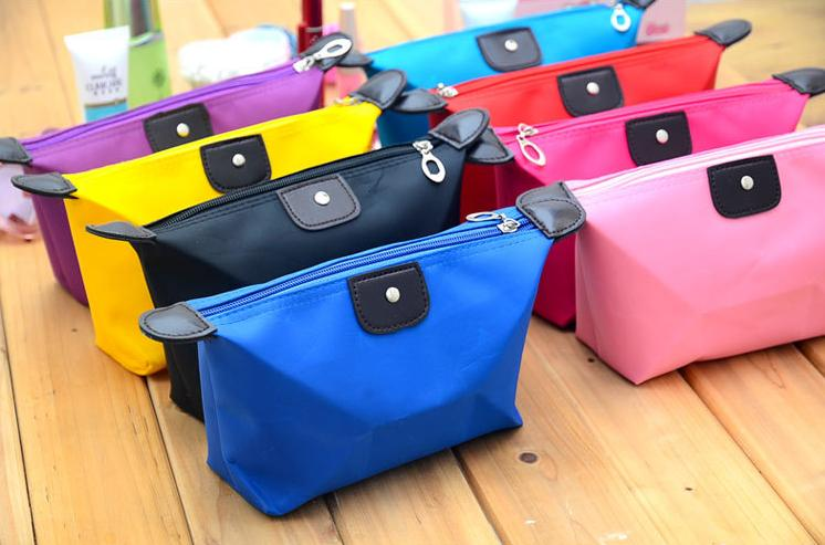 Less Than One Dollar Cheap Polyester Cosmetic Bag without Lining/Candy Color Cosmetic bag