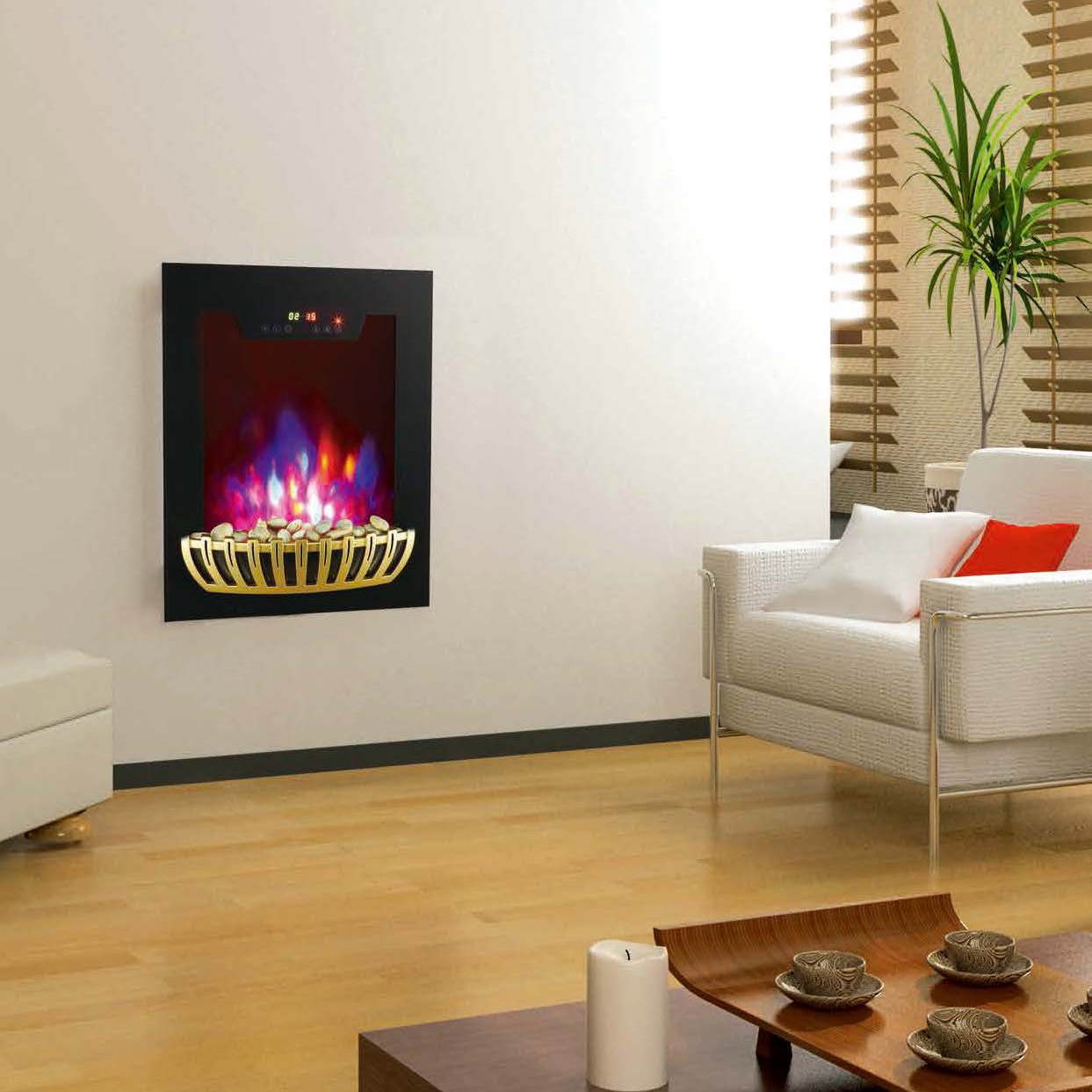 wall mounted fireplace wall hang real flame effect,colorful style,LED lights,Red,Orange,Blue,EF591/E