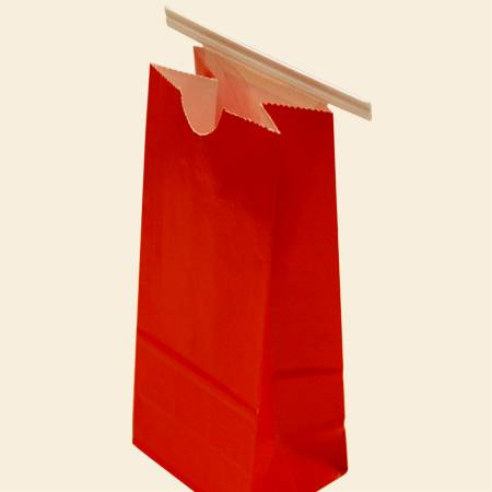 Red Color Square Bottom Kraft Paper Bag