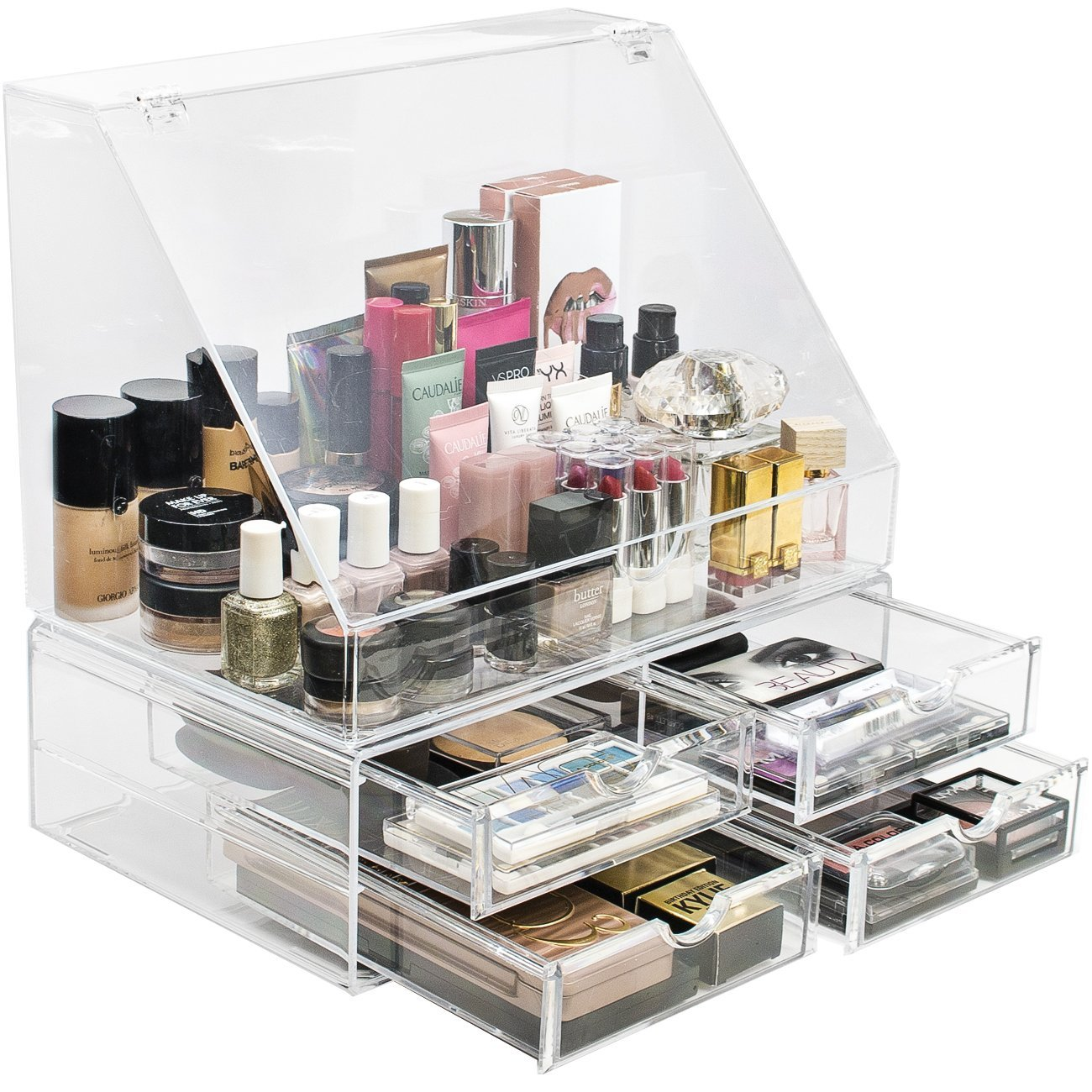 Acrylic Cosmetics Makeup Organizer Storage Case Holder with Slanted Front Open Lid-Cosmetic Storage
