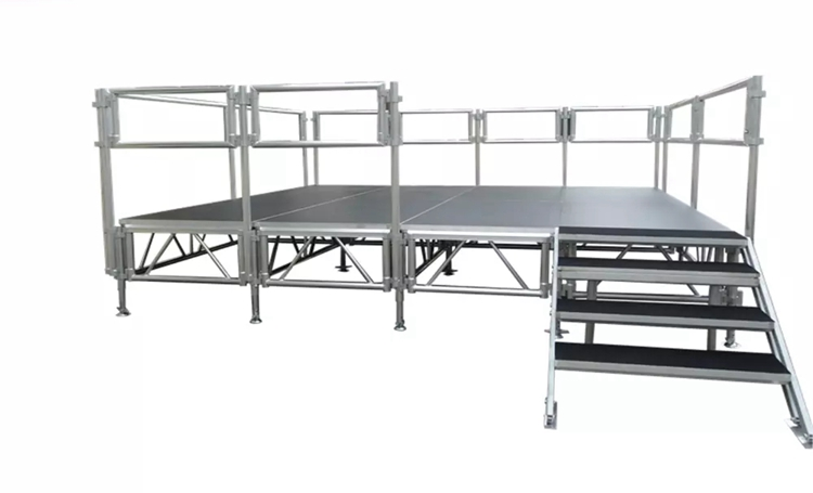 Aluminum stage with rail for event