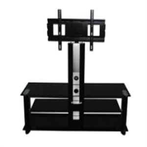 black silk-screen tempered glass tv stand