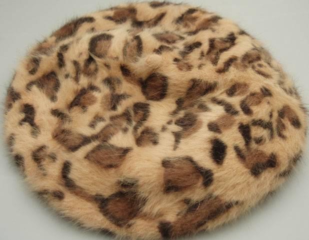 Angora (rabbit hair) berets with printing, fashion hat, cap