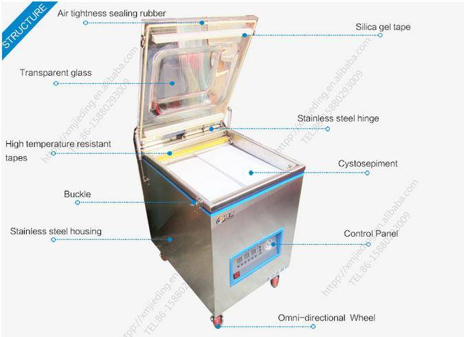 Wet or dry food vacuum sealing packing machine, single vacuum chamber for fresh cooked meat/seafood