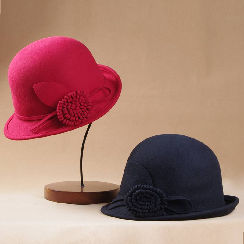 Ladies Winter Wool Felt Bucket Hat (FW004051)