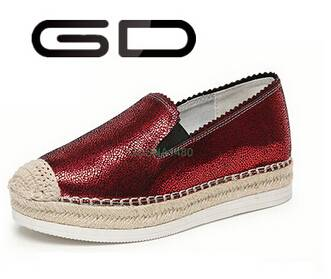 GD girls fashion spring deep red round toe thick sole flat espadrilles