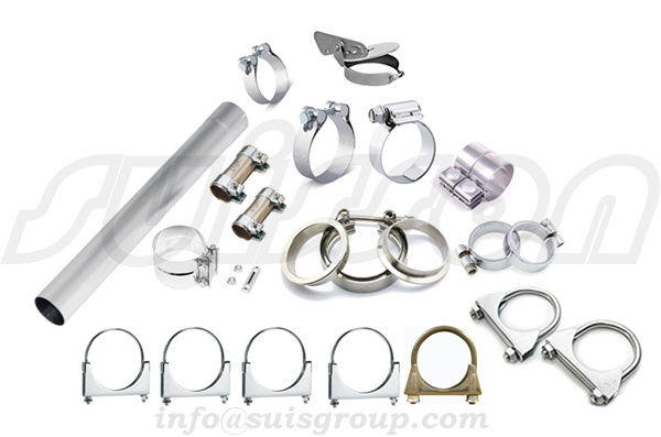 Automotive muffler clamps, saddle clamps, V-band flange assemblies, lap-joint band clamps, butt-join