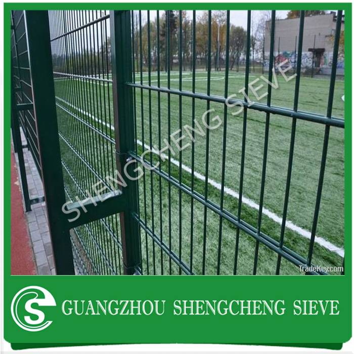 Security powder coated galvanized steel boundary wall mesh twin wire rebound fencing