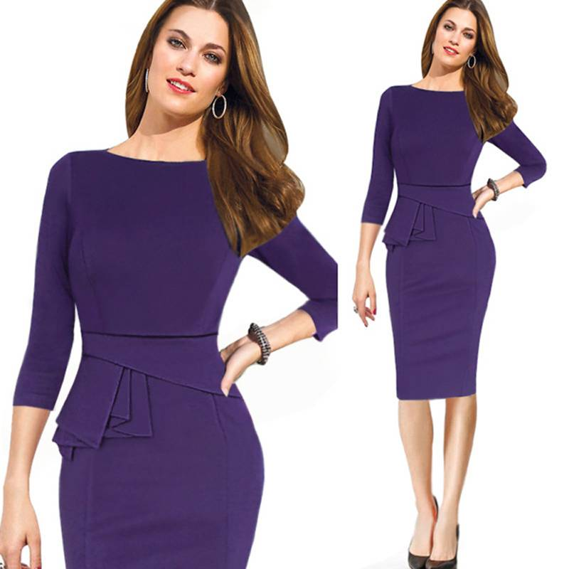 Hot Sale Slim Pencil Dress Three Quarter Sleeve Ruffles Professional Temperament Dress