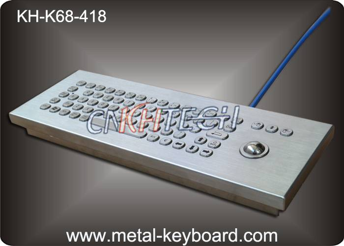 KH-K68-418 IP65 Industrial Metal Rugged Keyboard with trackball , Desktop computer keyboard
