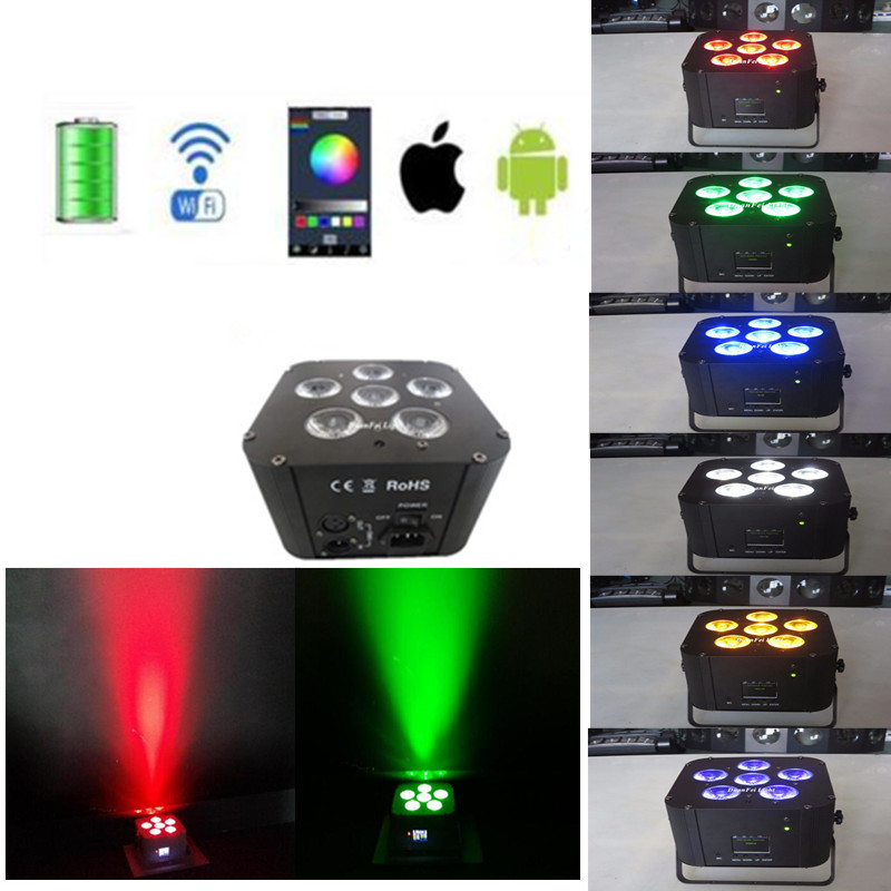 wireless flat par chargetable par rgbwauv 6in1 led slim par 6x18w battery wifi for wedding party
