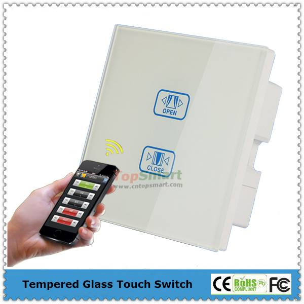 UK Standard  Wifi Mobile APP Remote Control Toughened Glass Panel Electric Curtain Touch Switch