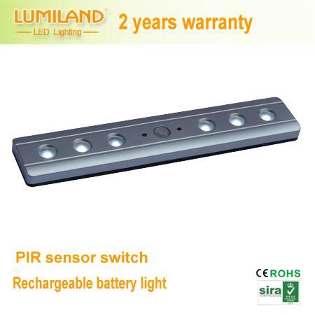 Rechargable LED battery light for wardrobe,drawer with PIR sensor--Lumiland