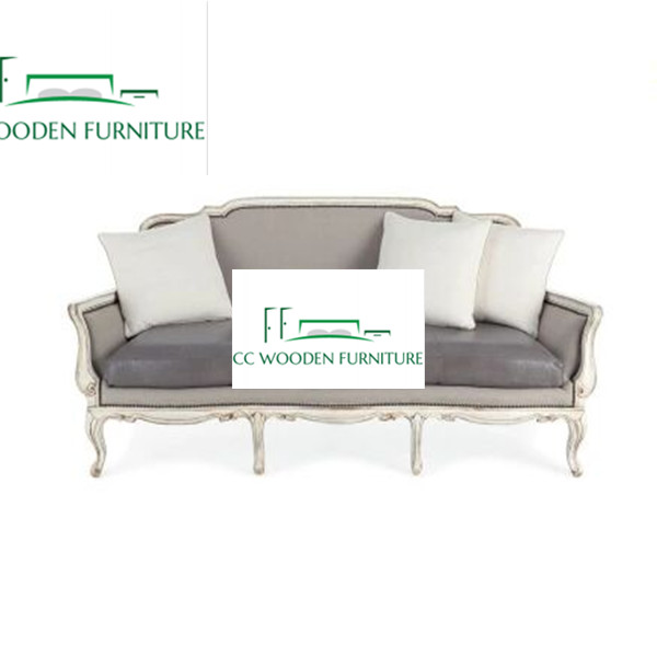 American birch sofa European solid wood sofa leather sleeper sofa