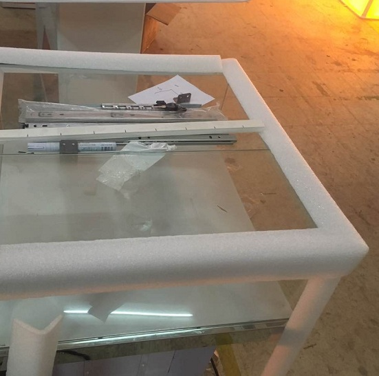 Bespoke Foam Edge Protectors for Glass Display Stands/Show Cases/Display Cabinets/Display Counte