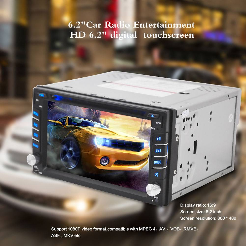 "Car accessories WithIn-Dash Radio iPod TV Bluetooth GPS Navigation 2Din 6.2"" Car DVD/USB/SD Player"