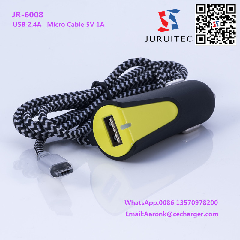 JR-6008 USB 2.4A USB car charger with Micro Cable 5V 1A