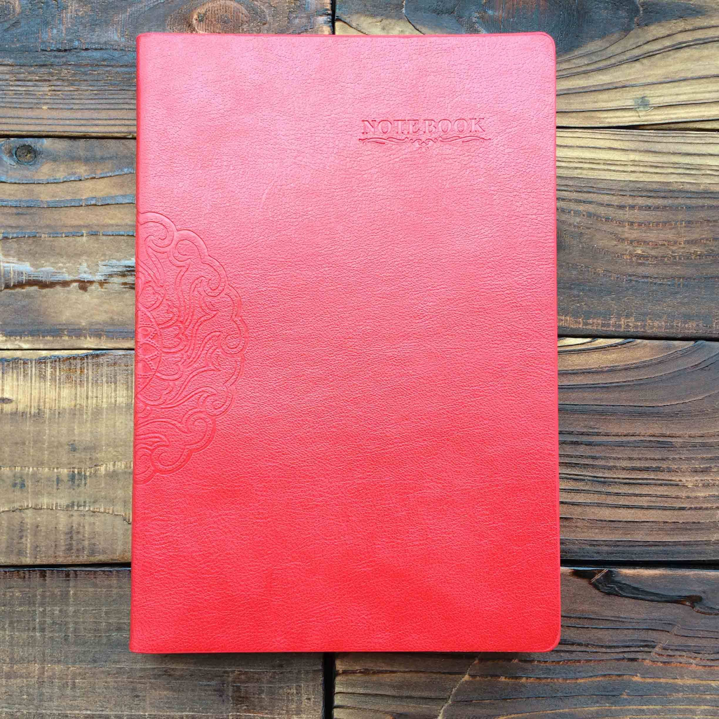 red cover colors hardcover notebooks embossed log