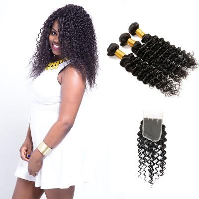 [8A]3 Bundles Brazilian Deep Wave Hair Weave With Lace Closure