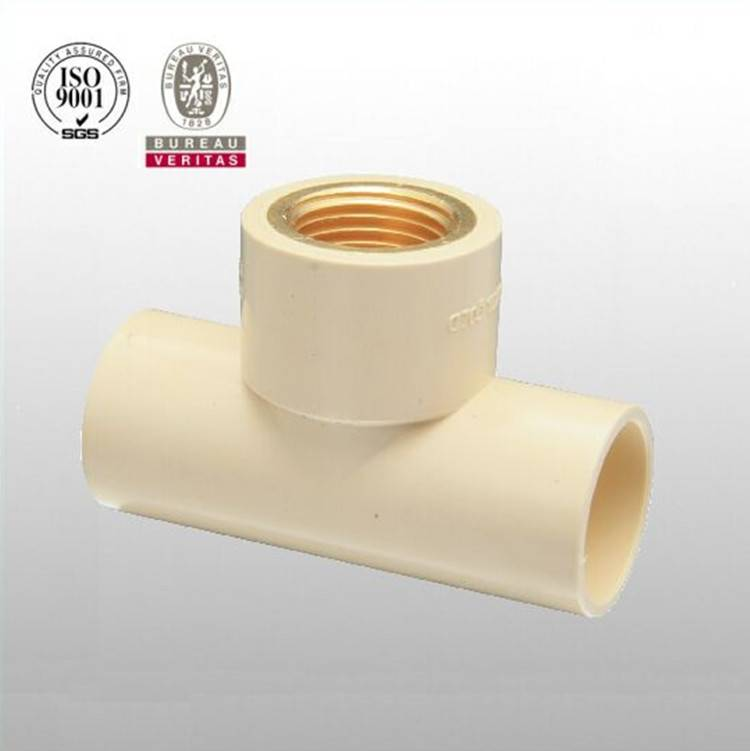 HJ brand CPVC ASTM D2846 pipe fitting female tee with brass