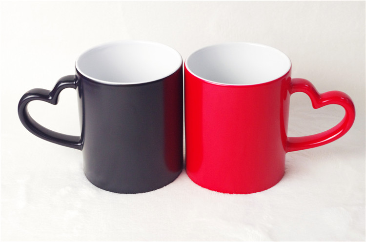 Wholesale 11 oz Color Changing Ceramic Mug Sublimation Cup With Heart Handle