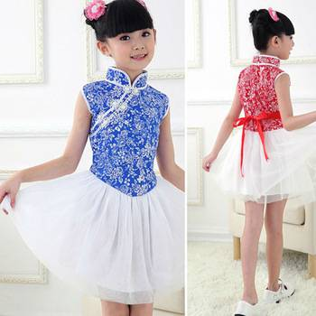 chinese traditional dress for kids ,for party dresses in taffeta , short sleeve princess dress girls