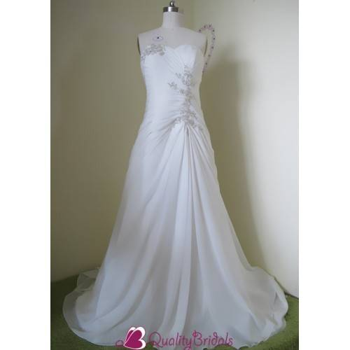 IVORY STRAPLESS SWEETHEART NECKLINE BEADED A LINE SILHOUETTE PLUS SIZE FORMAL WEDDING DRESS W1305