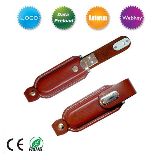 Leather USB Flash Gift for promotion