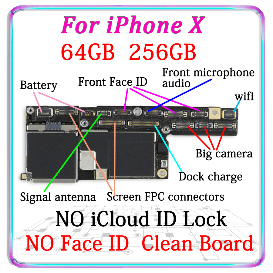wholesakle For Phone X Motherboard With/NO Face ID,Free iCloud For iPhoneX with IOS System Logic B