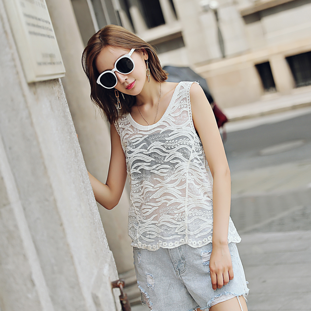 Sleeveless lace top coat lace embroidery computer embroidery summer sleeveless women