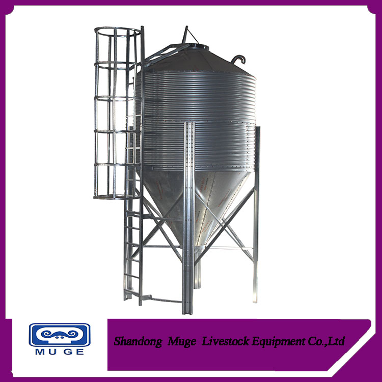 Hot galvanized steel animal feed silo