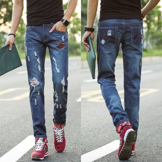men's jeans korea style tendy style leisure denim pants