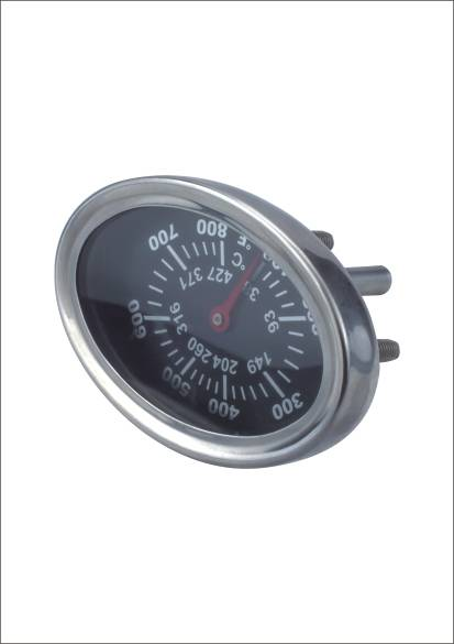low price black bimetal theory stainless steel oval shaped pizza oven thermometer