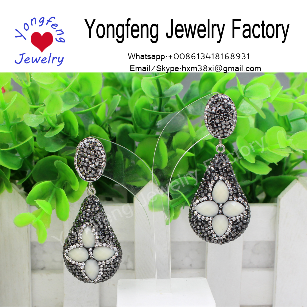 Boho jewelry natural stone rhinestone earrings for women 2017