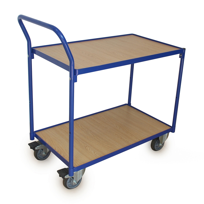 Trolleys with 2 Wooden Shelves - Load Capacity 250 Kg