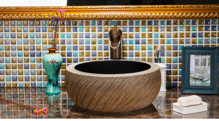 Handmade High Temperature Firing Retro Glazed Durable Porcelain Washstand