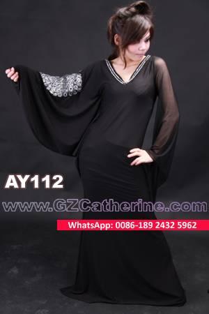 Hot Sexy See-through Black Maxi Abaya Dress