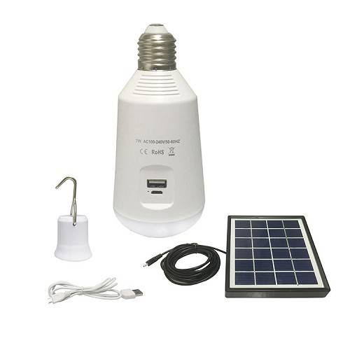 A LED Emergency bulb be charged by solar panel, and could be used as charging for your cellphone/com