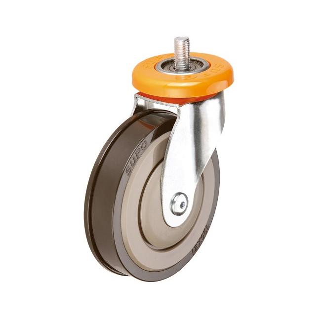 5 Inch PU Wheel Bolt Hole Ball Bearing Escalator Casters Castors