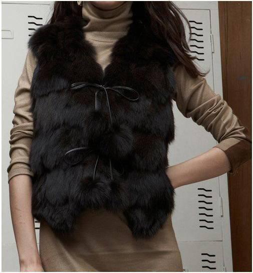 Women's Fox Fur Vest Fox Fur Coats Fox Fur Jacket Japanese & Korean style Z41 Black