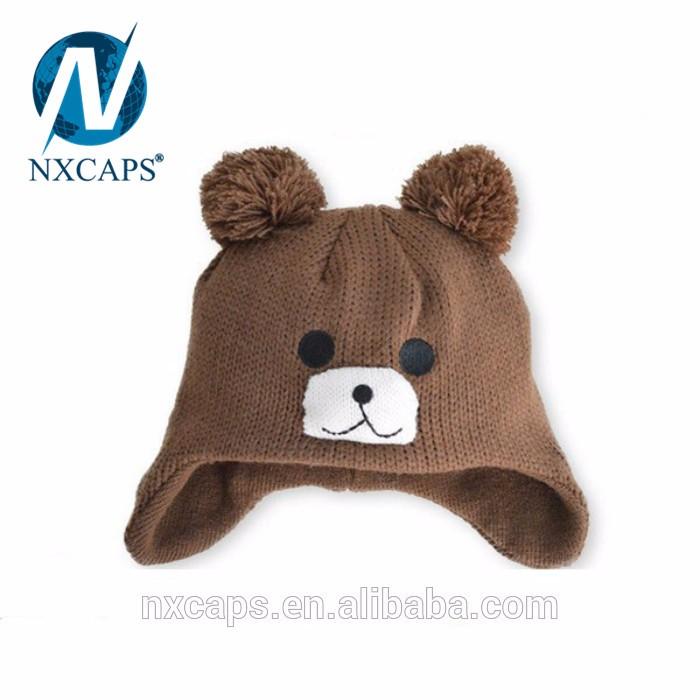 Knitting Winter Warm Earflap Cap Fashion Crochet Baby Beanie Hat custom animal beanie hat