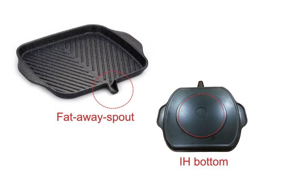 Non-stick square grill plate IH