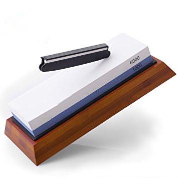 wholesale knife sharpening stone with non-slip bamboo base